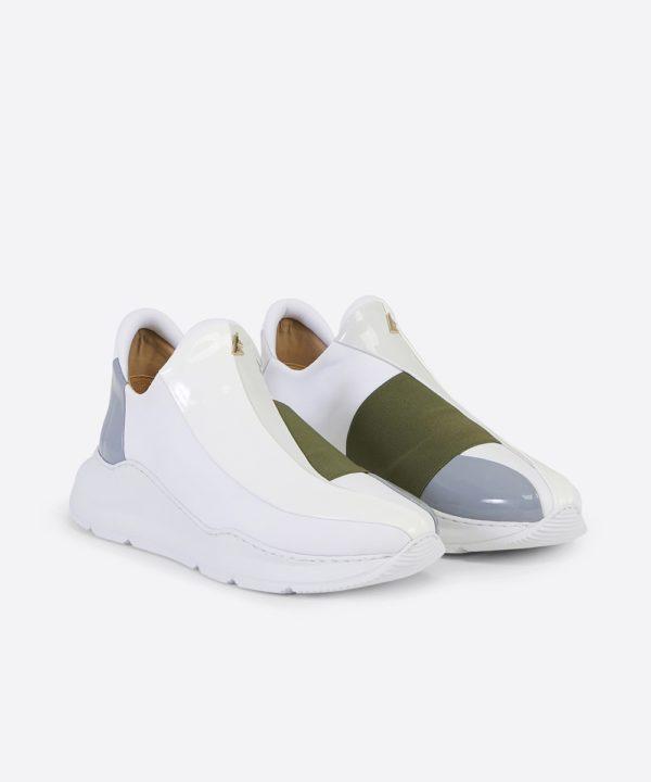 Electron. 07 White and Khaki Sneaker