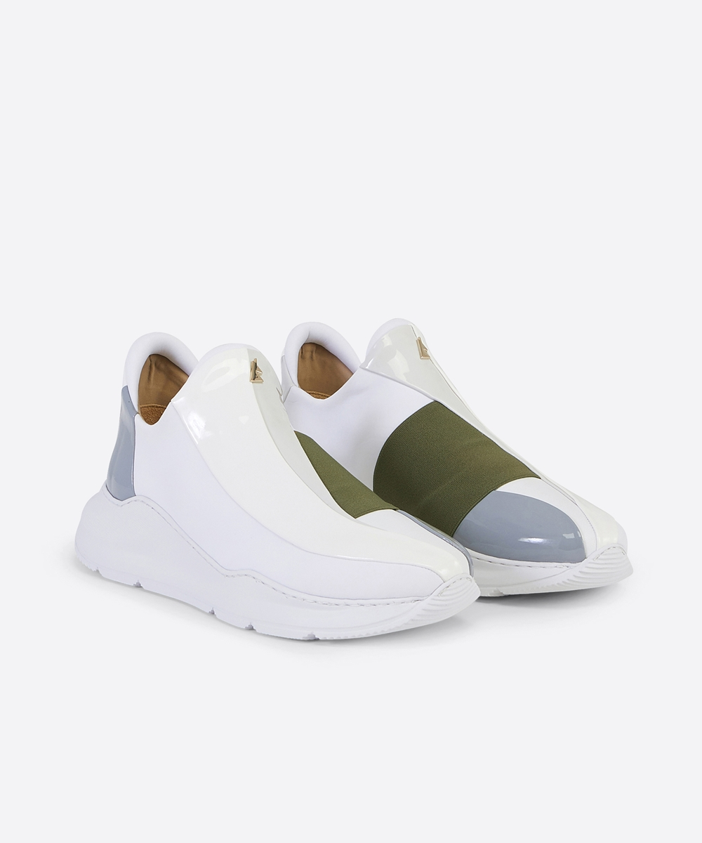 Electron. 07 White and Khaki Sneaker