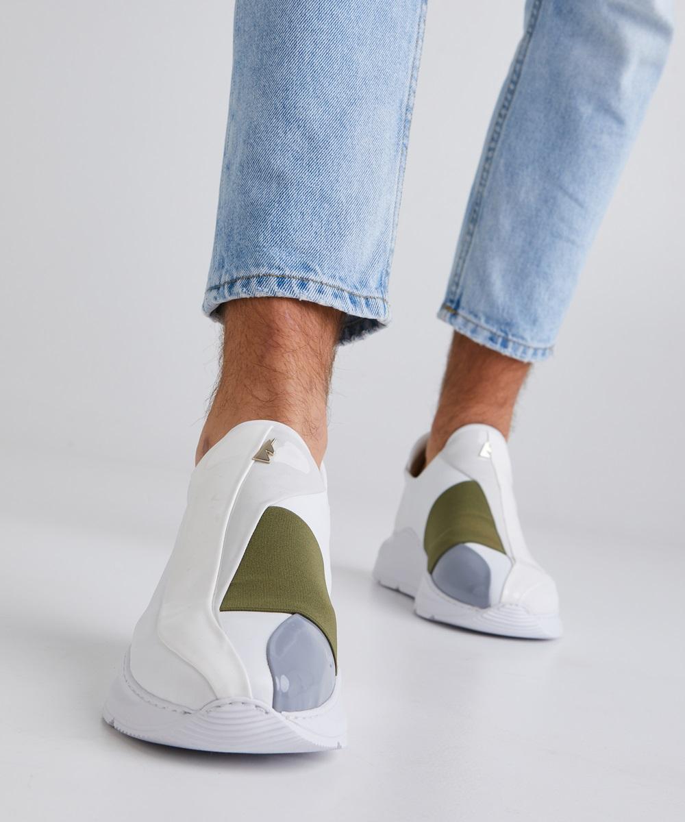 Electron. 07 Sneaker Blanche et Kaki