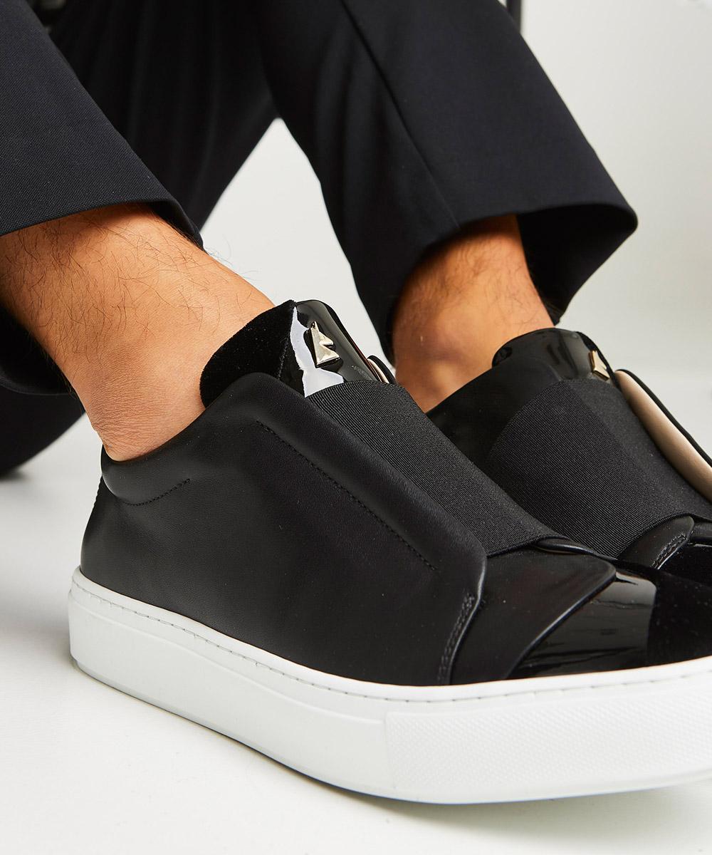 Hiver Velvet Sneaker Low-Top Blanche